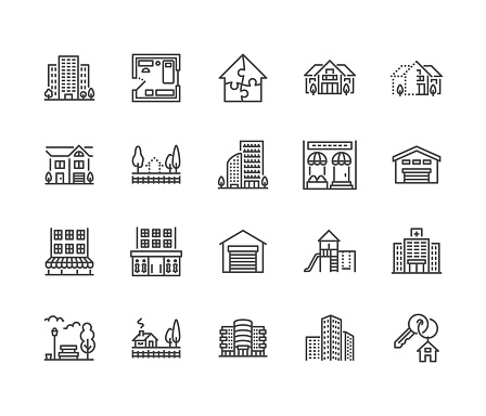 Real estate flat line icons set. House sale, commercial building, country home area, skyscraper, mall, kindergarten vector illustrations. Infrastructure signs. Pixel perfect 64x64. Editable Strokes