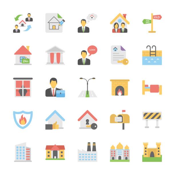부동산 평면 벡터 아이콘 모음 - work from home stock illustrations