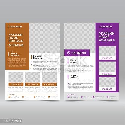 istock Real estate flyer design template 1297149654