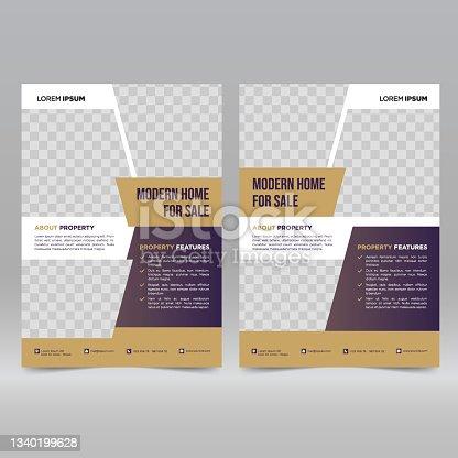 istock Real estate flyer design template 1340199628
