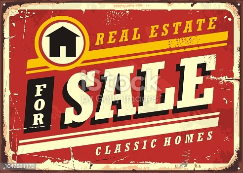 Real estate for sale retro tin sign design layout. Homes, buildings and houses vintage poster for real estate agency. Vector ad flyer template