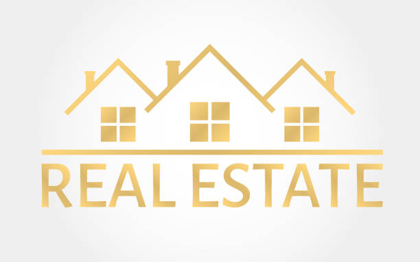 Real estate gold . House icon in line style. Creative  design. Real estate agency template. Vector illustration Real estate gold . House icon in line style. Creative  design. Real estate agency template. Vector illustration. home ownership stock illustrations