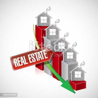 istock Real estate graph illustration design 1300556089
