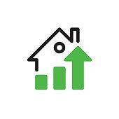 Vector icon, house + chart. Vector EPS 10, HD JPEG 4000 x 4000 px