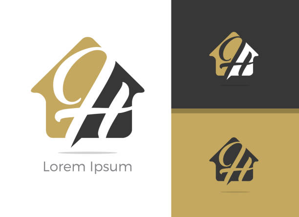 real estate h letter logo design, letter h in home vector icon. - real estate logos stock illustrations, clip art, cartoons, & icons