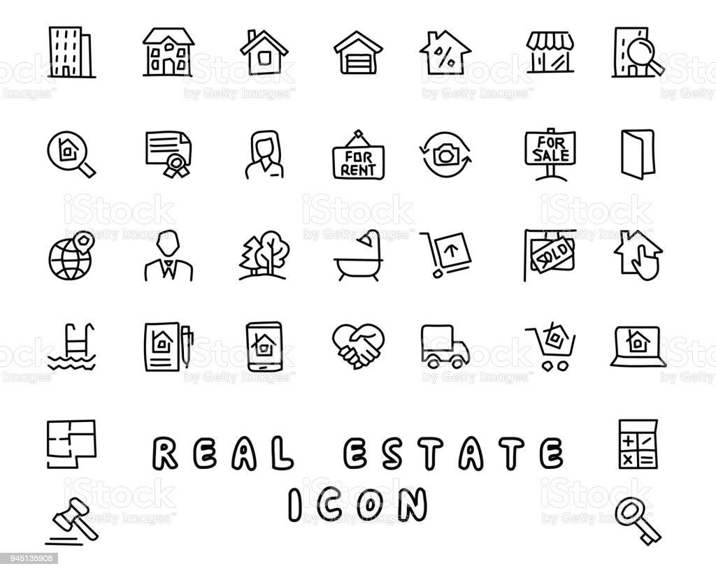 Real Estate Hand Drawn Icon Design Illustration Line Style Icon