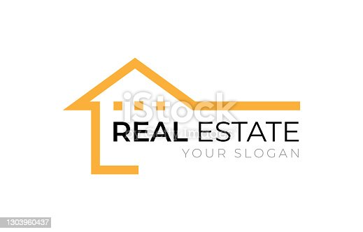 istock Real Estate home building construction company logo design orange and black color flat style vector isolated on white background 1303960437