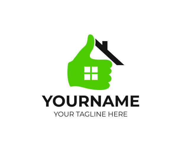 real estate, home, house, hand and thumb up, design. realtor, real property and construction, vector design and illustration - real estate logos stock illustrations, clip art, cartoons, & icons