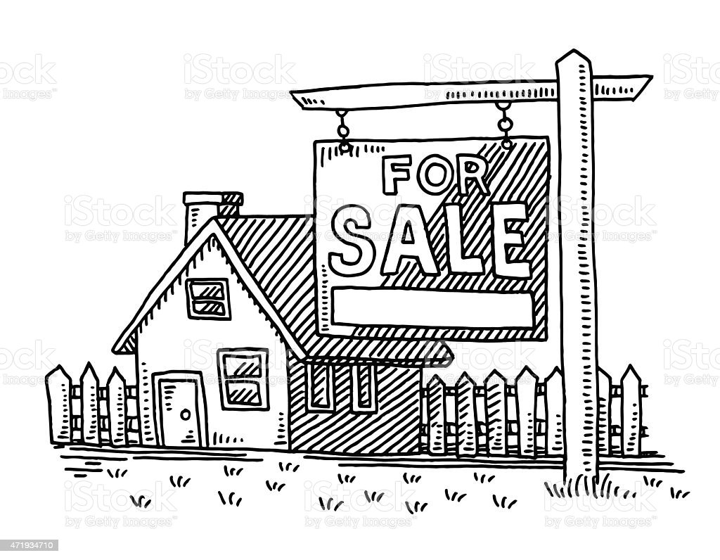 Real estate house for sale sign drawing stock vector art for Real art for sale