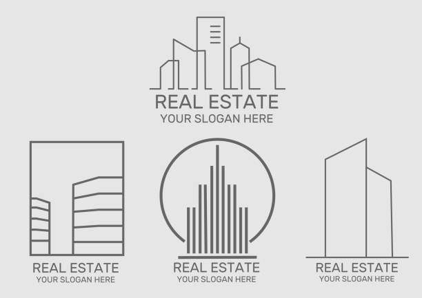 real estate house  icon - real estate logos stock illustrations, clip art, cartoons, & icons