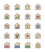 Real Estate & House icons, Color set - Vector Illustration