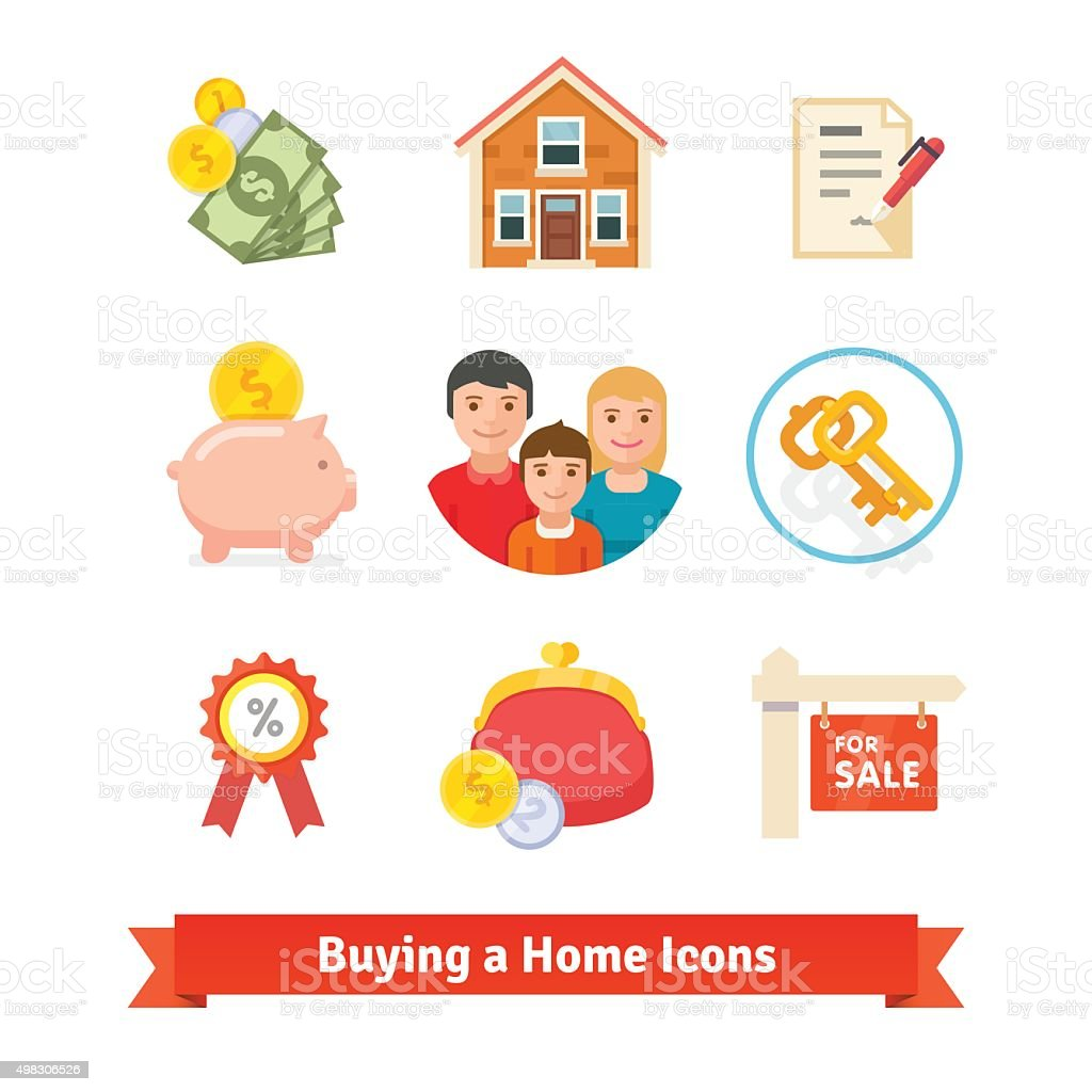 Real estate, house mortgage, loan, buying icons vector art illustration
