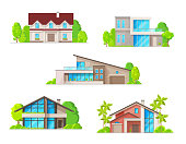 Real estate houses, cottage and bungalow buildings icons. Classic and modern architecture villas, wooden rural house and luxury two-storey mansions or townhouse with terrace and garage flat vector