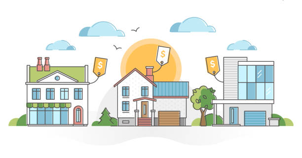 Real estate houses for sale and property purchase possibility outline concept vector art illustration