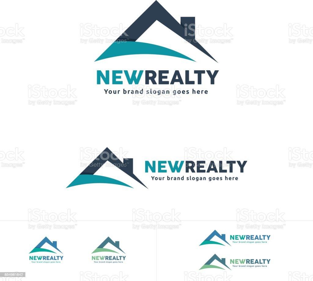 不動産のアイコン、家の屋根のシンボル、住宅ブランド ベクターアートイラスト