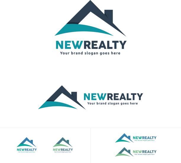 ilustraciones, imágenes clip art, dibujos animados e iconos de stock de inmobiliaria icono, símbolo de la azotea de casa, residencial marca - nueva casa
