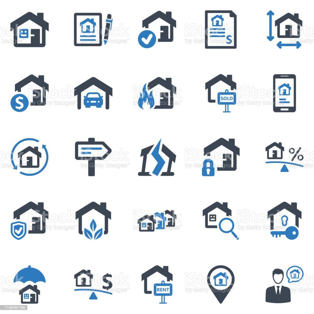 Real Estate Icon Set - 1 (Blue Series)