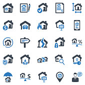 Real Estate Icon Set - 1 (Blue Series)