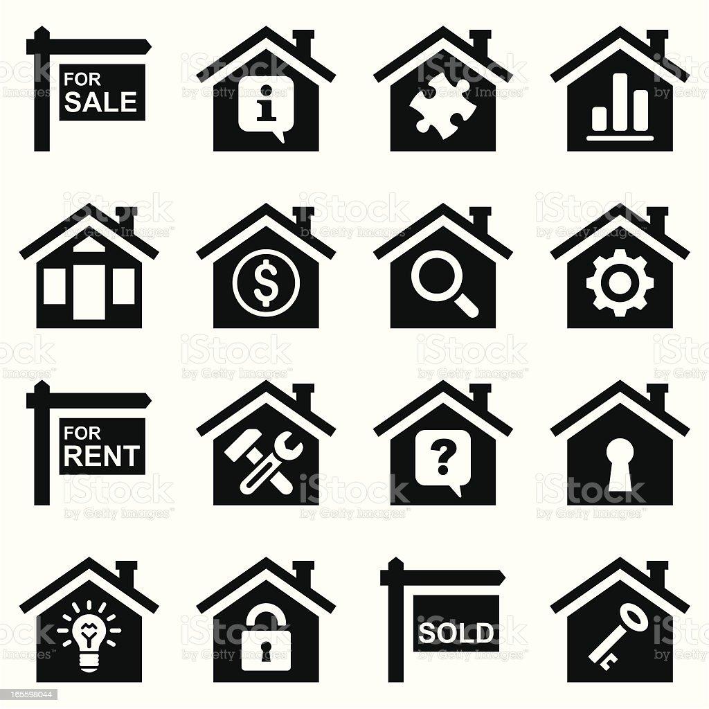 real estate icon set black royalty-free stock vector art