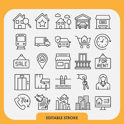 Real Estate Icon Set. Editable Stroke
