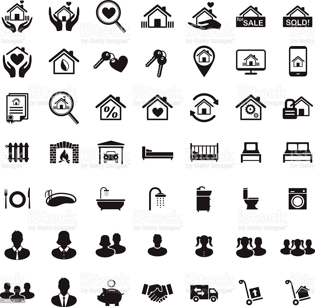 Real estate icon set family home house members stock vector art real estate icon set family home house members royalty free real estate icon biocorpaavc Image collections