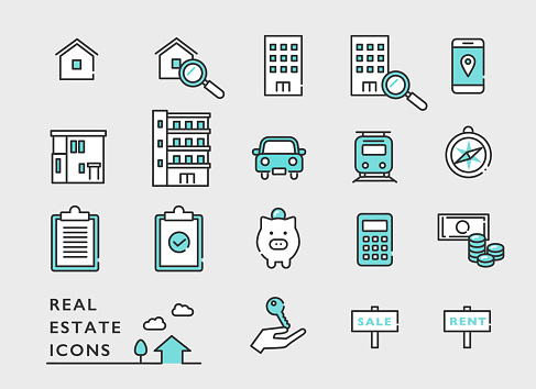 real estate icon set, home traffic , office rent sales.