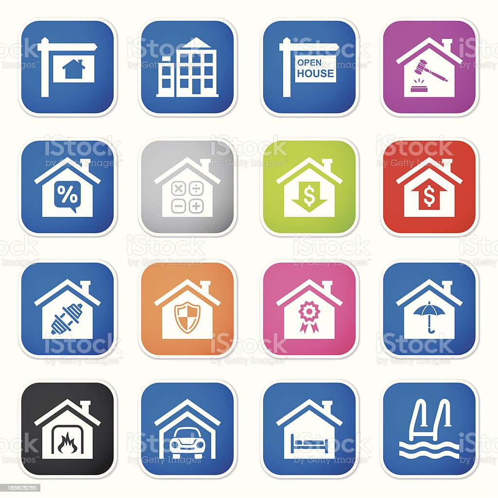 real estate icon set II sq stickers royalty-free stock vector art