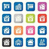 real estate icon set II sq stickers