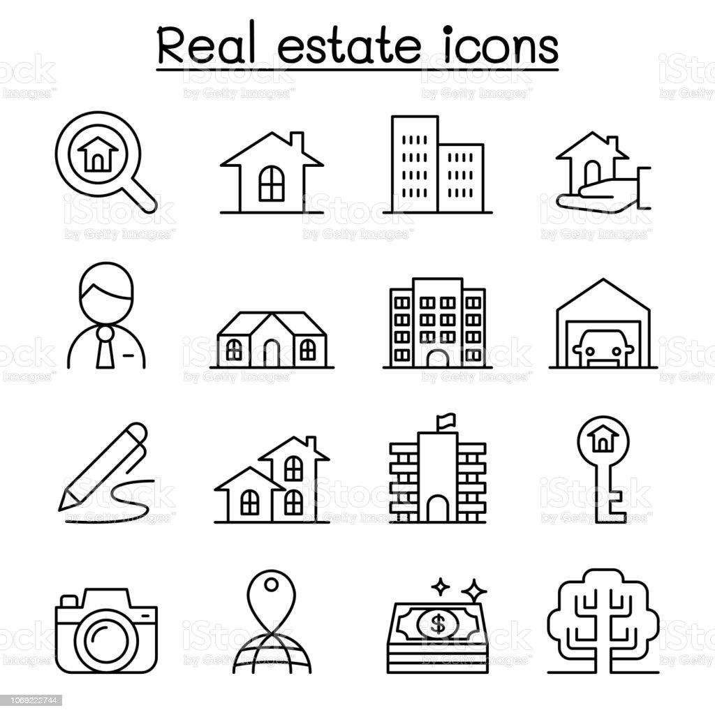 Icono inmobiliario en estilo de línea fina - ilustración de arte vectorial