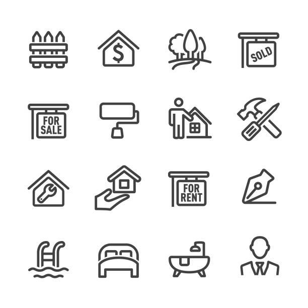immobilien symbol-set-line serie - bodenbetten stock-grafiken, -clipart, -cartoons und -symbole