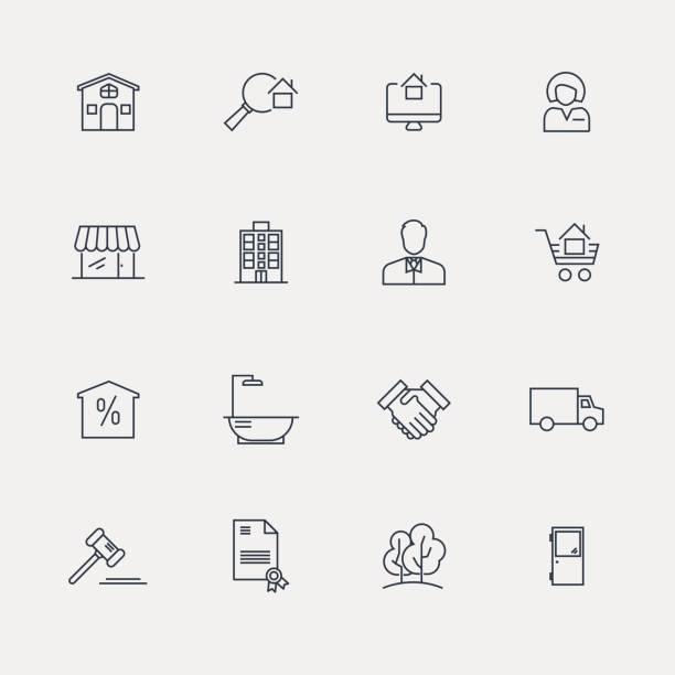 stockillustraties, clipart, cartoons en iconen met vastgoed icon set - line serie - buren