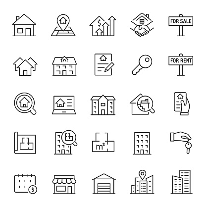 Real estate, icon set. Purchase and sale of housing, rental of premises, linear icons. Line with editable stroke clipart