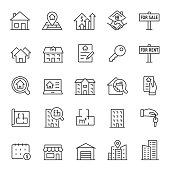 Real estate, icon set. Purchase and sale of housing, rental of premises, editable stroke