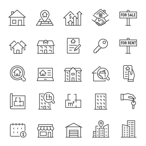 nieruchomości, zestaw ikon. zakup i sprzedaż mieszkań, wynajem lokali, ikony liniowe. linia z edytowalnym obrysem - house stock illustrations