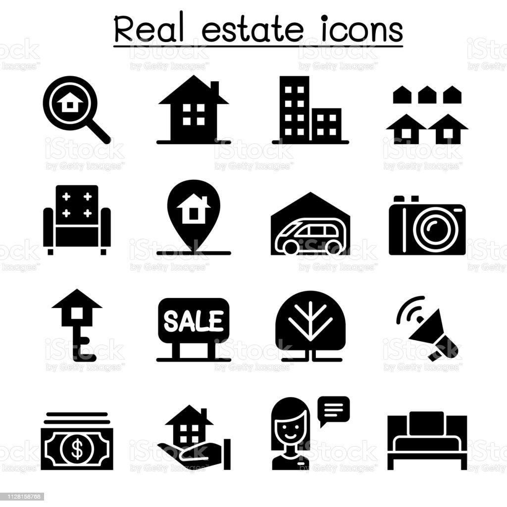Conjunto de iconos de bienes raíces - ilustración de arte vectorial