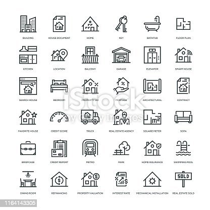 Real Estate Icon Set - Line Series