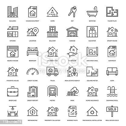 Real Estate Icon Set - Thin Line Series