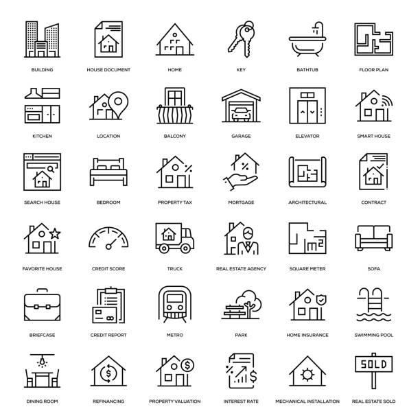 ilustrações de stock, clip art, desenhos animados e ícones de real estate icon set - house garage