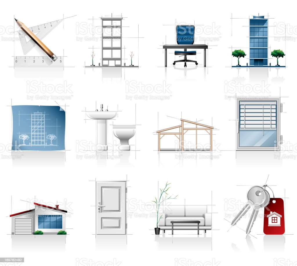 Real Estate Icon Set royalty-free stock vector art