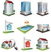 Real estate icon set with 9 colorful icons.