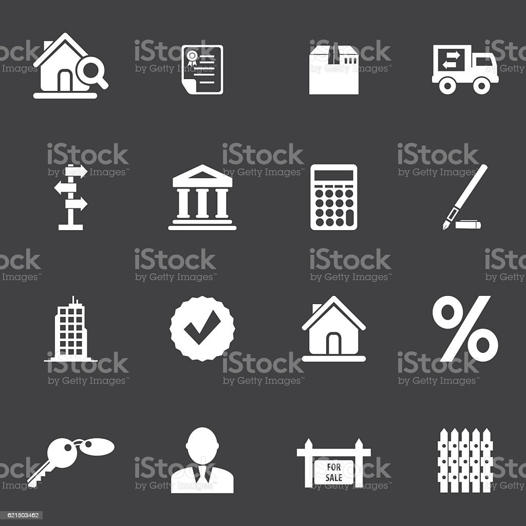 Immobilier Icon Set immobilier icon set – cliparts vectoriels et plus d'images de accord - concepts libre de droits