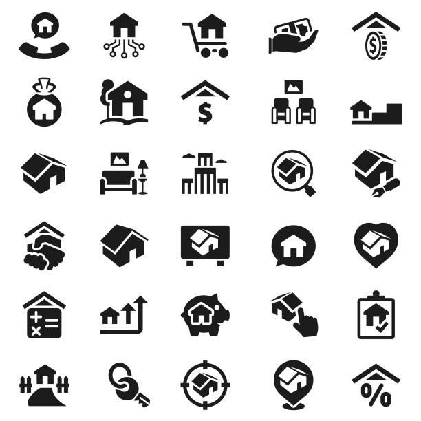 illustrazioni stock, clip art, cartoni animati e icone di tendenza di real estate icon set - real life