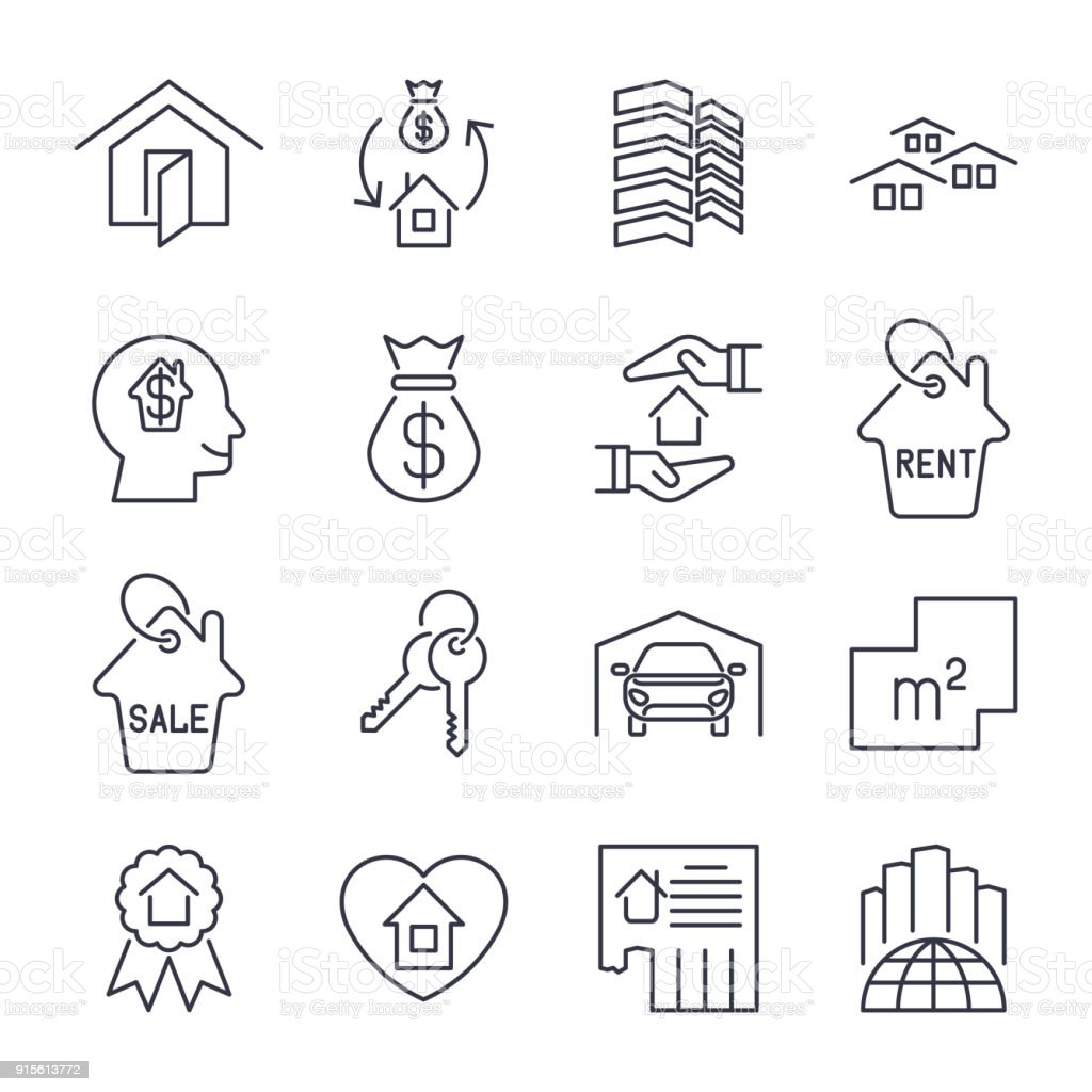 Real estate icon suitable for info graphics, websites and print media skyscaper, garage, city, bilding and other. Vector, flat icon, clip art. Icons set with editable stroke vector art illustration