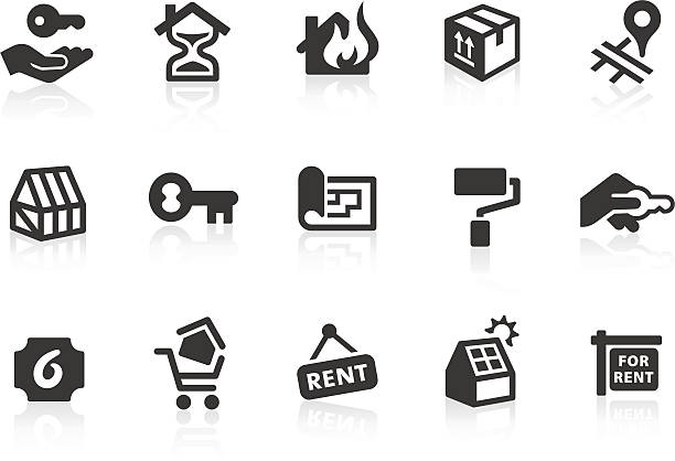 real estate icons 2 - neues zuhause stock-grafiken, -clipart, -cartoons und -symbole