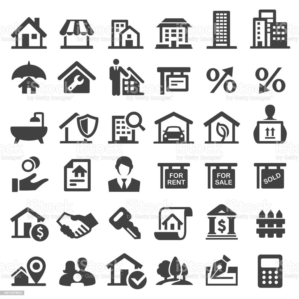 Real Estate Icons - Big Series royalty-free stock vector art