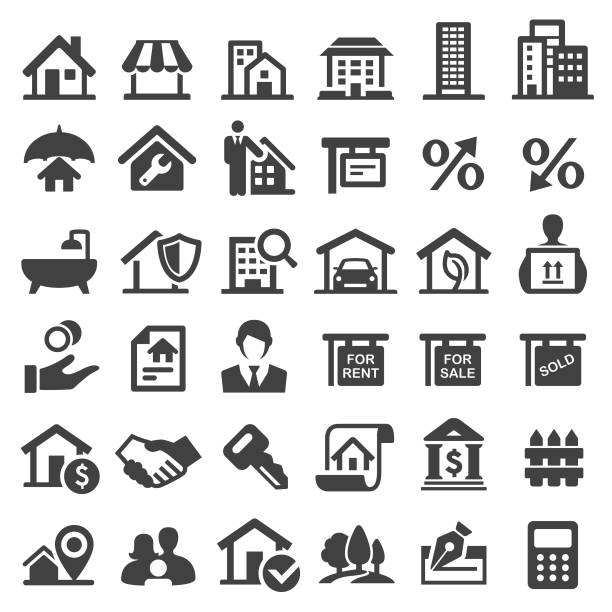 Real Estate Icons - Big Series View All: conceptual symbol stock illustrations