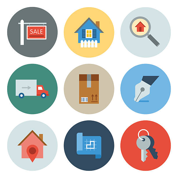 real estate icons-kreis serie - schlüsselkasten stock-grafiken, -clipart, -cartoons und -symbole
