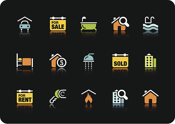 Real estate icons | color series vector art illustration