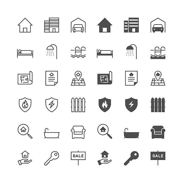 Immobilien-Symbole, inklusive normaler Haut und aktiviert haben. – Vektorgrafik