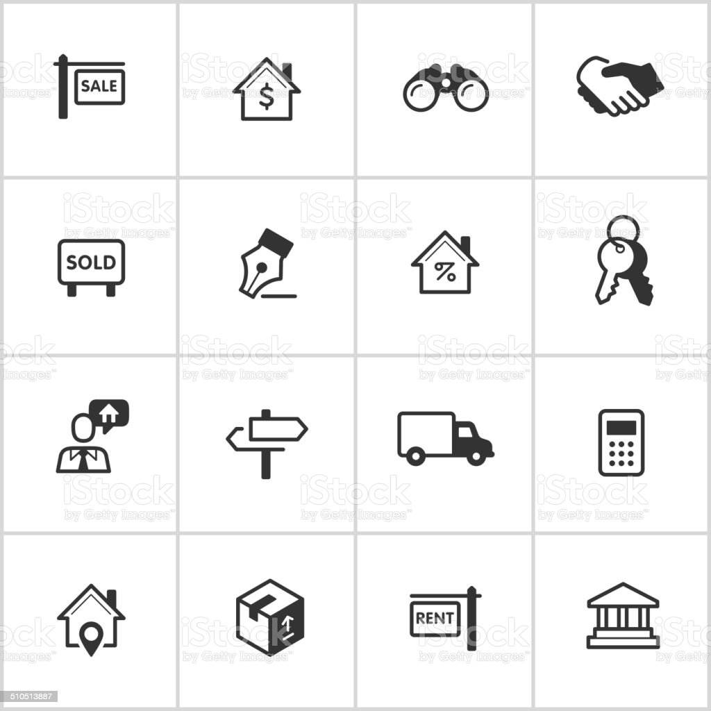 Real Estate Icons — Inky Series vector art illustration